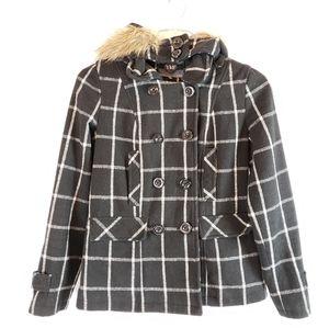 YMI | Black Plaid Faux Fur Hood Lined Coat Size M